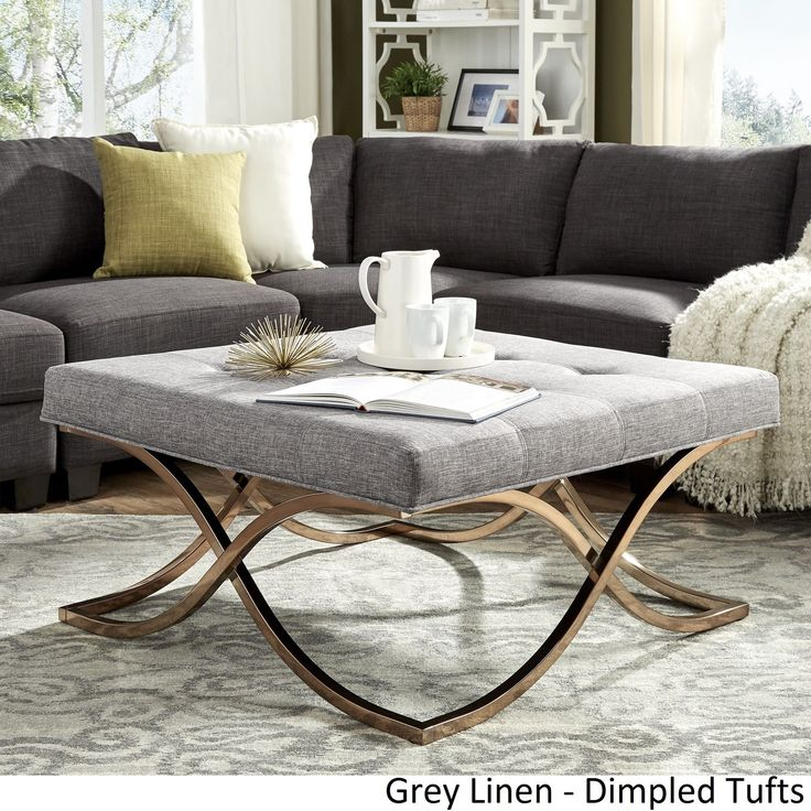 Solene X Base Square Ottoman Coffee Table - Champagne Gold by Inspire Q ([Grey Linen]- Dimpled Tufts)