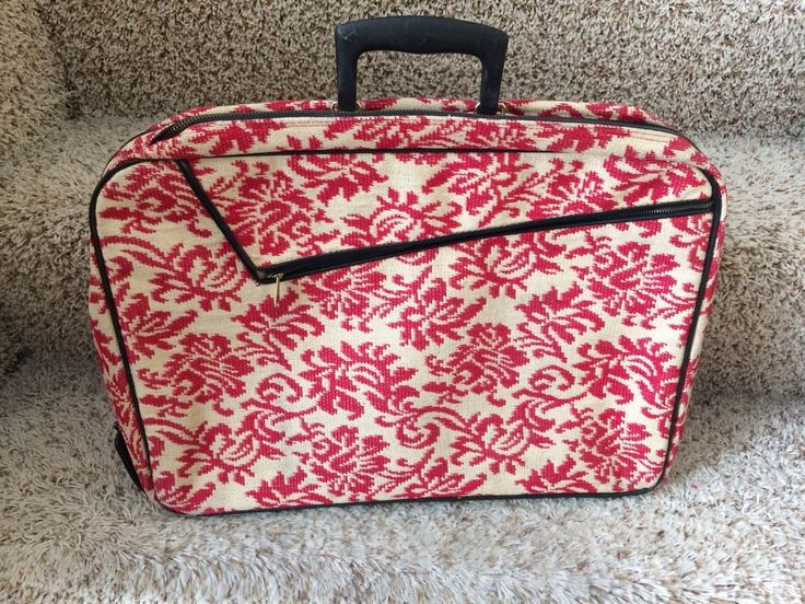 Vintage 1970's AD Sutton Sons Red Toile Small Suitcase Travel Case Japan #ADSuttonSons