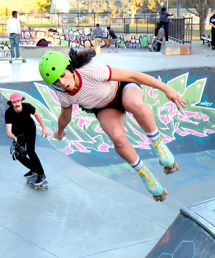 Moxi Girls Roller Skating Club - Female Only Skaters | The Moxi Skate Team is an all-female roller-skating club out of Long Beach, CA. The girls love having fun — while breaking down barriers. #refinery29 http://www.refinery29.com/2016/04/108693/moxi-girls-roller-skating-club