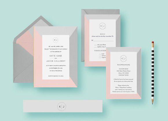 Simple Minimal Wedding Invite Set   @creativework247