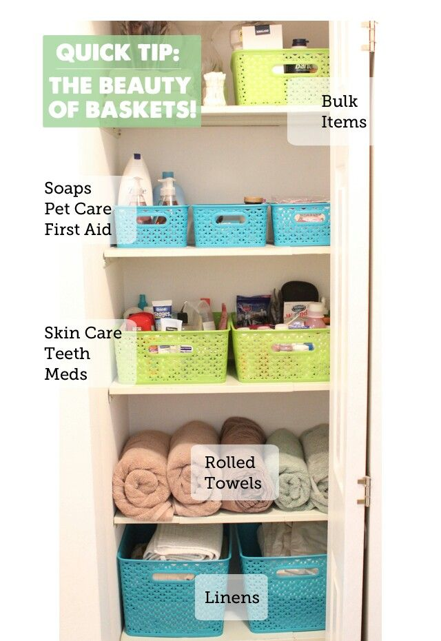 Linen Closet Organization (I would like this, but with plastic bins & lids.)
