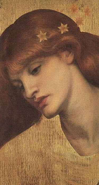 """Dante Gabriel Rossetti (1828-1882) : """"Sancta Lilias"""" 1874 , oil on canvas , 48,3x45,7 cm , Tate , London . This is an early, unfinished version of Rossetti's The Blessed Damozel (1875-8, Fogg Art Museum, Harvard University). The model is Alexa Wilding (1845-1884) ."""