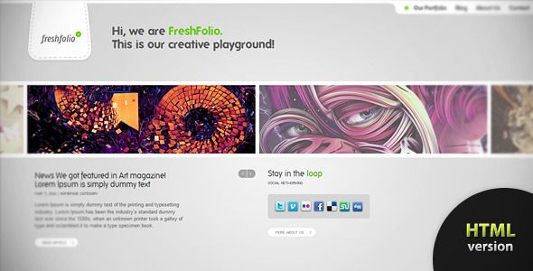 Freshfolio HTML - Portfolio showcase theme   http://themeforest.net/item/freshfolio-html-portfolio-showcase-theme/167080?ref=damiamio       An original, awesome and efficient way for showcasing photography, design, illustration portfolios' or even paintings and art. Freshfolio comes in 2 color variations: Dark and Light. One thing is certain, whatever color you'll choose to go for, it will blend perfectly with the minimalistic yet stylish looks of FreshFolio.   IMPORTANT: Support is offered…