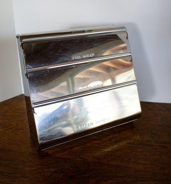 Vintage Chrome Kitchen Dispenser Foil Paper Towels Wax