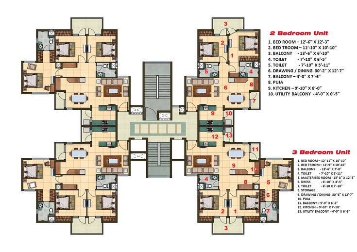 2 And 3 Bhk Apartment Cluster Tower Layout Residential