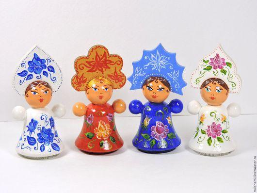 Деревянные куколки в кокошниках, ручная роспись, русский сувенир, подарок иностранцу, подарок девочке, куклы малышки, деревянные игрушки, купить куклу, кукла из дерева