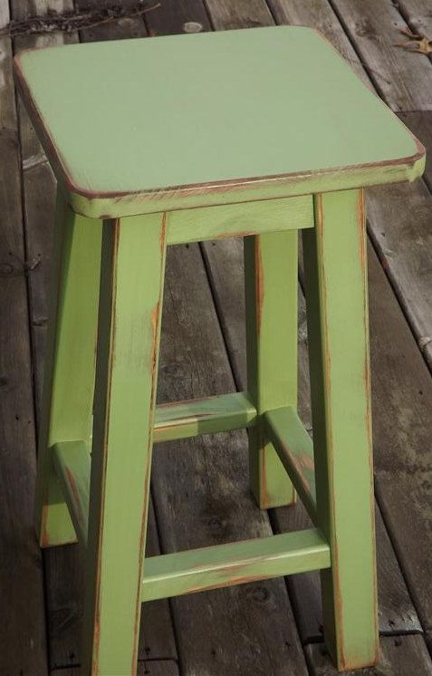 "painted bar stools | ... wood/ Distressed/ bar stool/ counter stool/ painted/ green/ 25"" H"