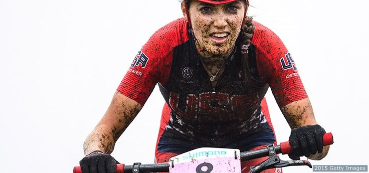 Kate Courtney competes in the women's under-23 cross-country Olympic race at the UCI Mountain Bike & Trials World Championships on Sept. 4, 2015 in La Massana, Andorra