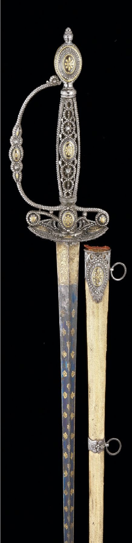 A FINE ENGLISH SMALL-SWORD WITH BLUED CUT-STEEL HILT, CIRCA 1780, PERHAPS WOODSTOCK