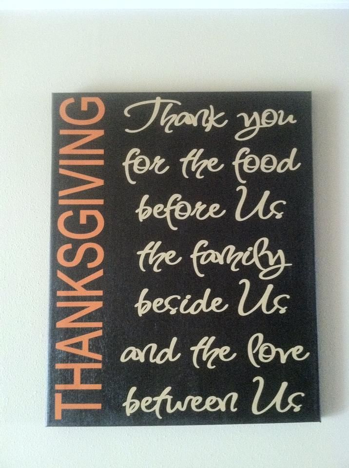 "I'm thinking cut wood blocks and cover with the chalk board paint. Cut out ""Thanksgiving"" with cricut using cardstock. Modge podge it just on the side - leaving the chalk board empty to write something you are thankful for each day in the month of Nov."