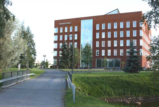"""House of Environmental Offices of Oulu City (Finland); people call it """"The Rusty House"""". Building is covered with Ruukki's Cor-Ten Steel, which develops in time a refined rusty surface."""