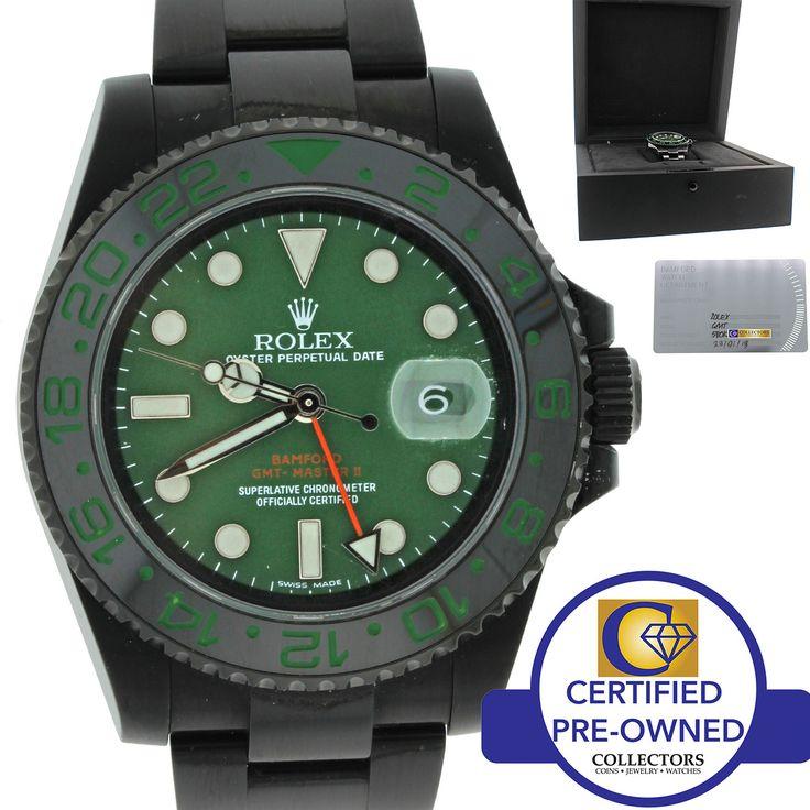 Bamford VERDE Rolex Submariner Black PVD Ceramic GMT MasterII Green 116710 Watch