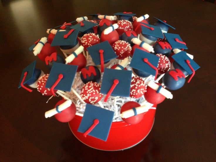 Red, White and Blue Graduation Cake Pops | Cupcakes/Cake Decorations ...