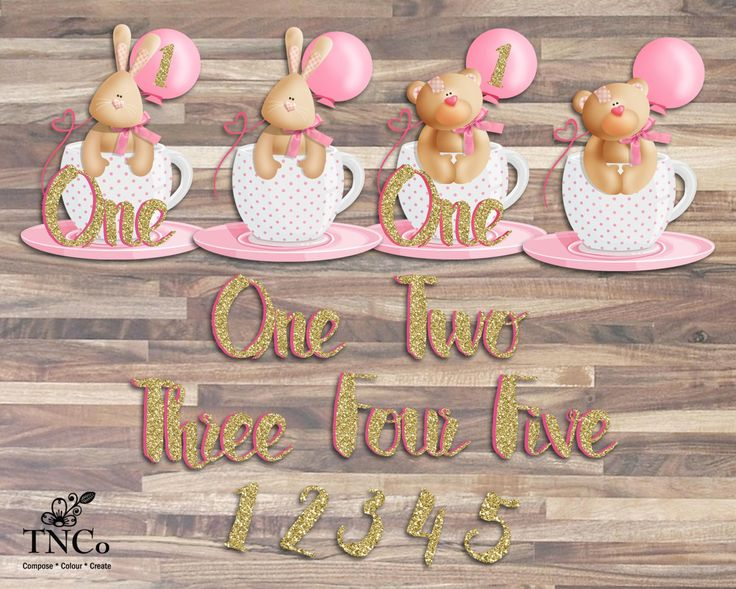 first birthday clipart, bear illustration for new born, pink teacup download, rabbit clipart, pink bows, invitation and nursery supplies - pinned by pin4etsy.com