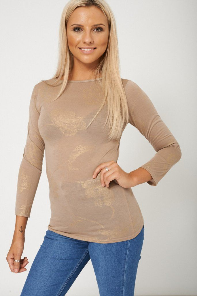 Ladies Straight Cut Brown Top in Fashion