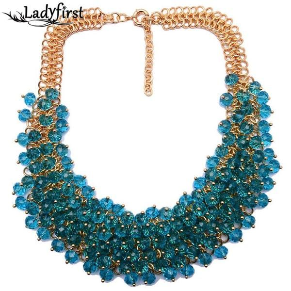 Quality Luxury Vintage Crystal Colorful Gem Necklace &Pendants +Shiriza.com  Good Quality Hotsale Collar Necklace Jewelry