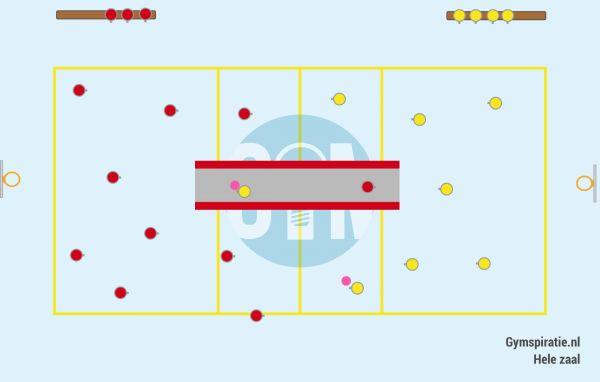 Plattegrond van Lange mat trefbal - Leuke trefbal vorm met meer spanning en uitdaging.