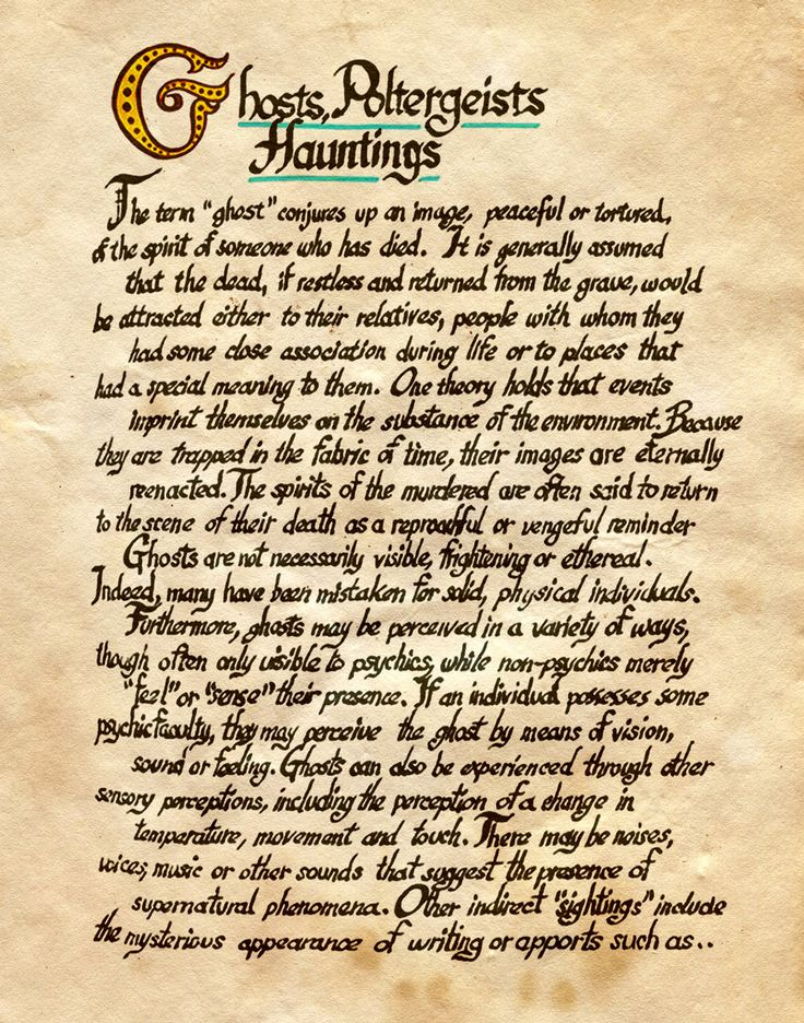"""Book of Shadows:  """"Ghosts, Poltergeists, Hauntings,"""" by Charmed-BOS, at deviantART."""