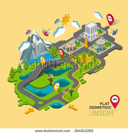 Flat vector landscape with a picture of the nature and landscape of mountains and lakes, road junction GPS navigation infographic 3d isometric concept.