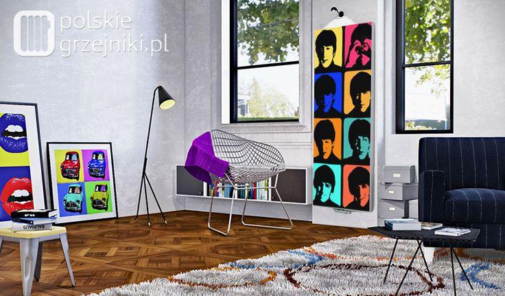 Dekoracyjny grzejnik z nadrukiem Pop-art w nowoczesnym salonie. #grzejnik #ozdobny #nowoczesny #aranzacje #dekoracyjne #grzejniki