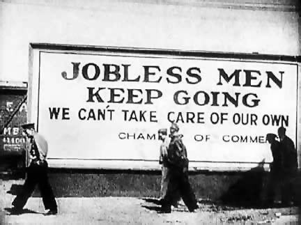 This is a picture from the great depression. it is credible because it was taken during the 30's and shows a lot about how people were affected by the events going on around them. This picture shows unemployed men trying to find jobs and travelling to other towns in order to find one in order to support themselves and their family. Towns started putting up billboards stating that there were no jobs available because the unemployment rates were so high.