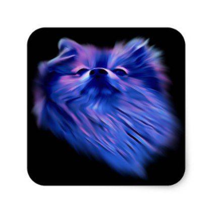Blue Pomeranian Square Sticker - animal gift ideas animals and pets diy customize