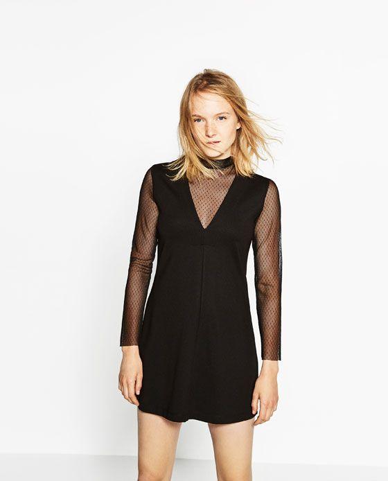 Image 2 of LONG SLEEVE PLUMETIS DRESS from Zara