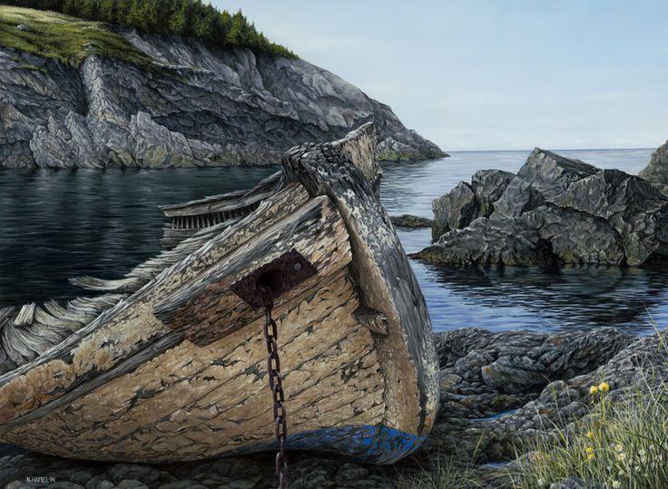 """Dilapidated Dory"" by Neil Hamelin. #painting #art #artwork #realism #hyperrealism #seascape #ship #marineart"