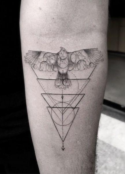 Dr Woo triangles geometric hawk tattoo