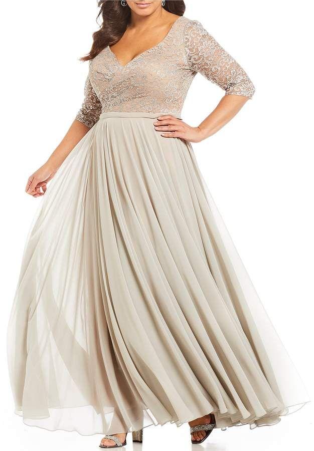 5e9d7ecb4783a Terani Couture Plus Size V Neck 3 4 Sleeve Lace Bodice Gown