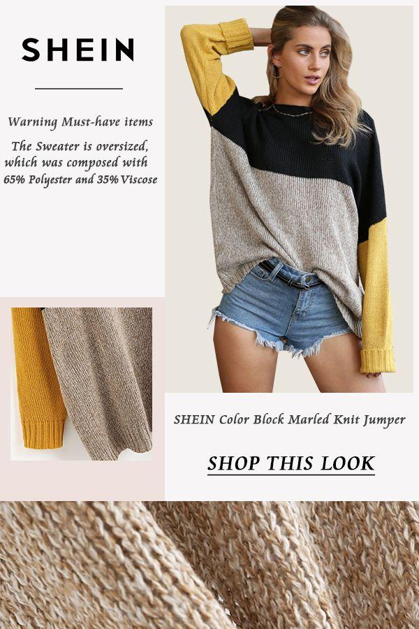703e9a65d2 Color Block Marled Knit Jumper