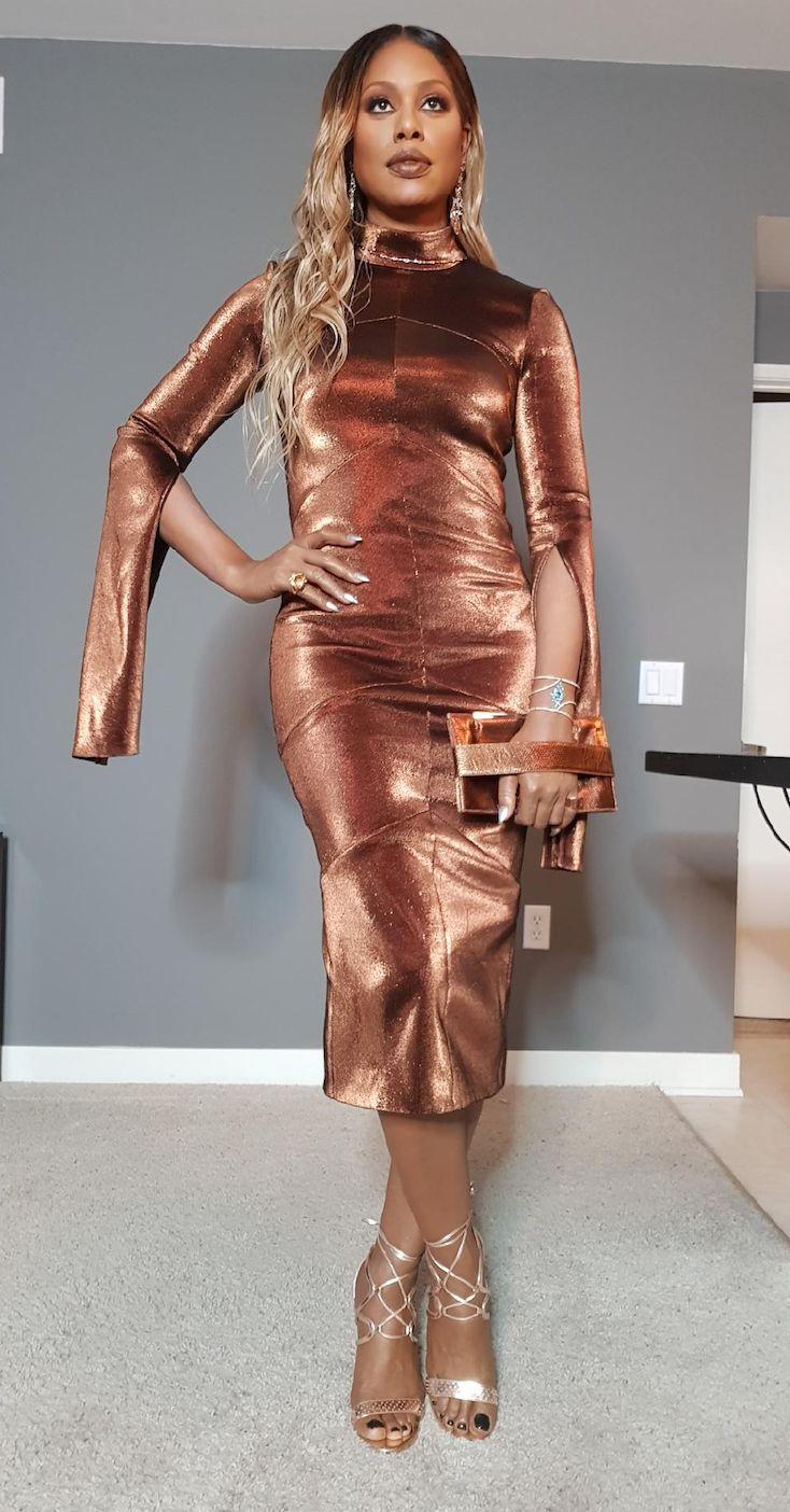 Laverne Cox in custom Ruthie Davis Heels.