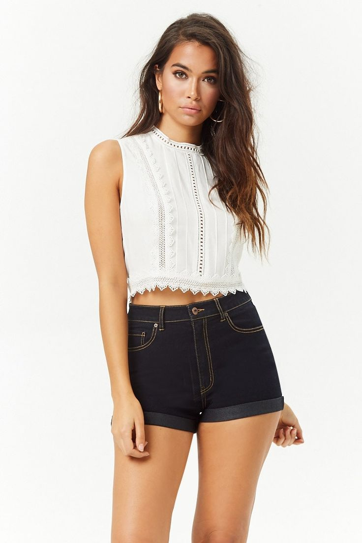 Product Name:Eyelet Mock-Neck Top, Category:top_blouses ...