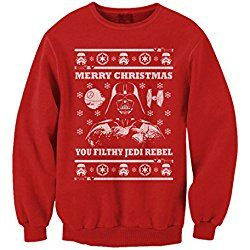 Ugly Christmas Sweater Star Wars Parody Darth Vader Red