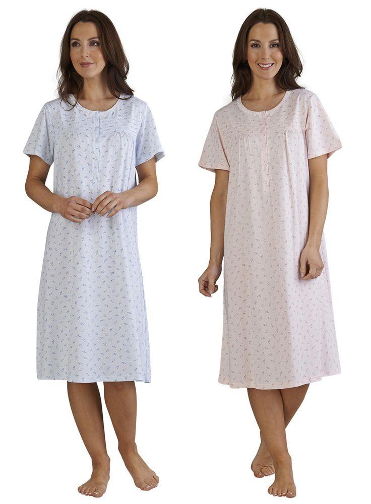 Ladies Slenderella Short Sleeve Floral Nightdress UK 10 - 22 (Blue or Pink) - Mill Outlets