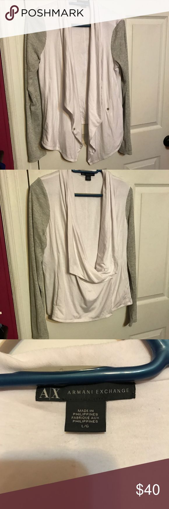 EUC Armani Exchange draped sweater EUC Armani Exchange sweater. Gray, ribbed sleeves. White, soft material for the body. Can leave front hanging open for a draped look or button to each inside for a closed look. Worn once. No flaws. Armani Exchange Sweaters Cardigans