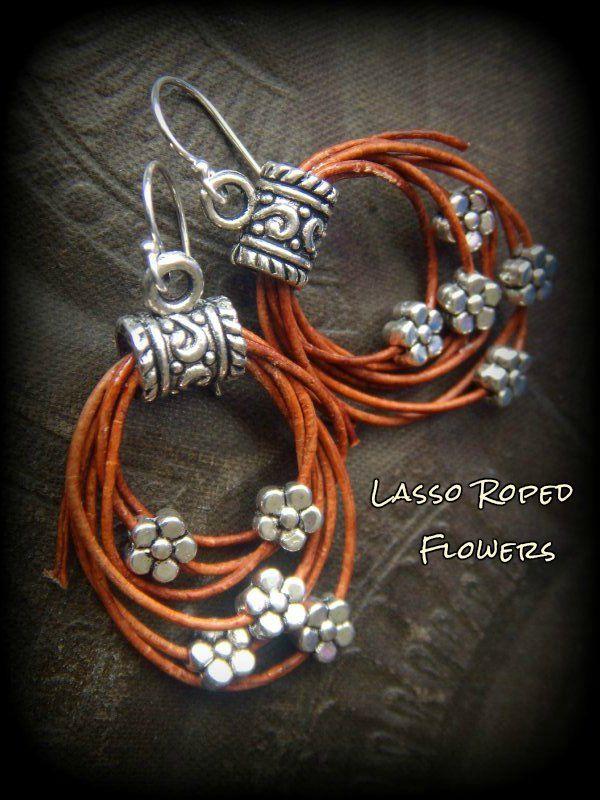 Rustic, CowGirl, South West, Lasso, Flowers, Leather, Hoop Beaded Earrings