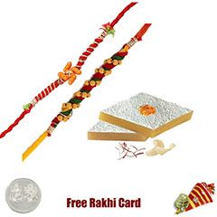 Buy and send online fancy rakhi with sweets to USA from india