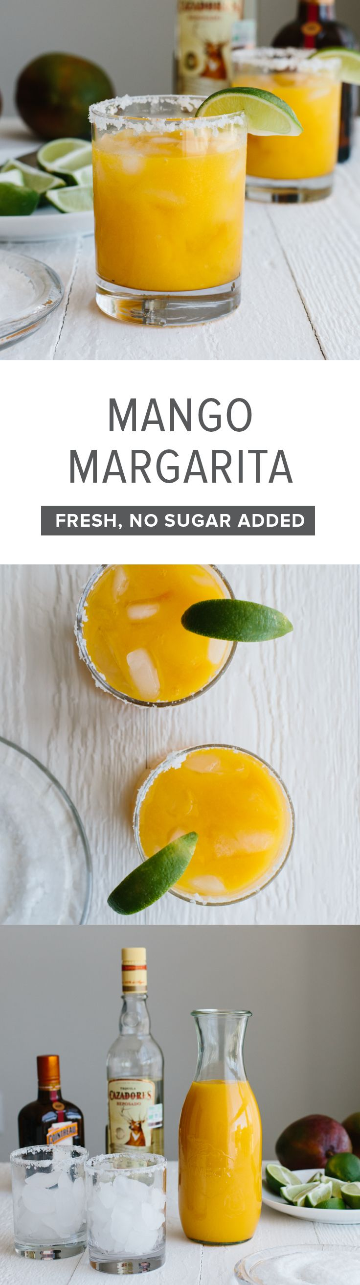This mango margarita on the rocks uses all fresh ingredients (and has no added sugar). It's the perfect fruity cocktail!