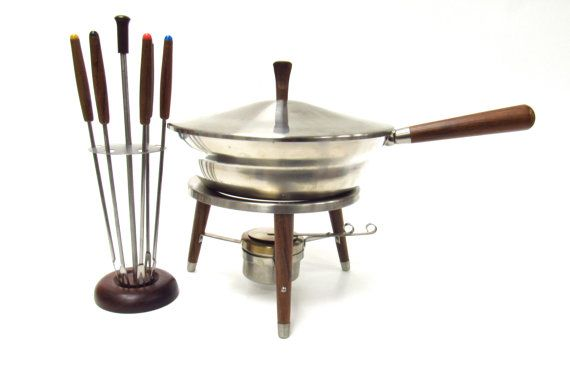 Mid Century  Chafing Dish/ Fondue Pot by MidniteGalaxyVintage #vintage #1960s #madmen #bettydraper #vintagekitchen #etsy #sixties #midcentury #midmod #fonduepot