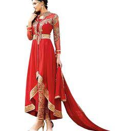 Buy Red embroidered georgette unstitched salwar with dupatta party-wear-salwar-kameez online