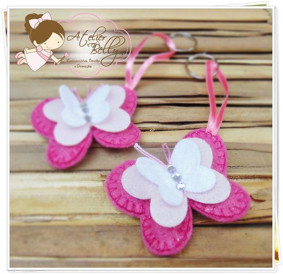 butterfly in felt keychain