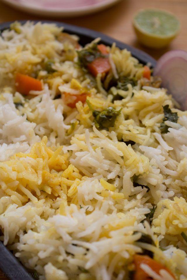 Hyderabadi Veg Biryani - Aromatic, lightly spiced dish of layered rice with vegetables.  #vegbiryani #biryani #hyderabadivegbiryani #vegetablebiryani