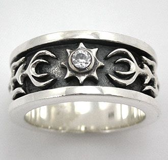 nice Tattoo Trends - Diamond Tribal Sterling Silver Mens Rings. Tribal tattoos design mens 925 silver...
