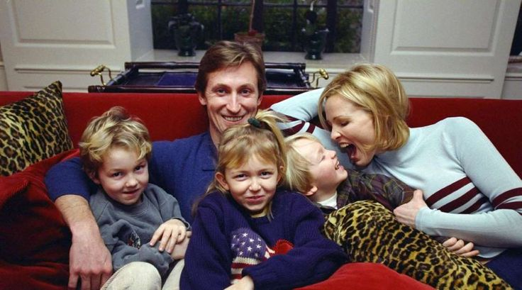 An intimate look at Gretzky's life off the ice throughout his career  -  March 25, 2017:    Wayne Gretzky sits with his family, wife Janet and their kids Trevor, Paulina and Ty in 1997.