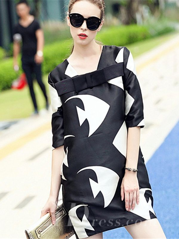 Spring 2016 White and Black Print Half Sleeves Short Dress