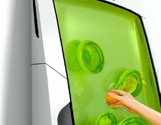This is a fridge, you put your stuff in the gel, and it suspends it and keeps it cool, reforms after objects are removed.  Weird but cool!