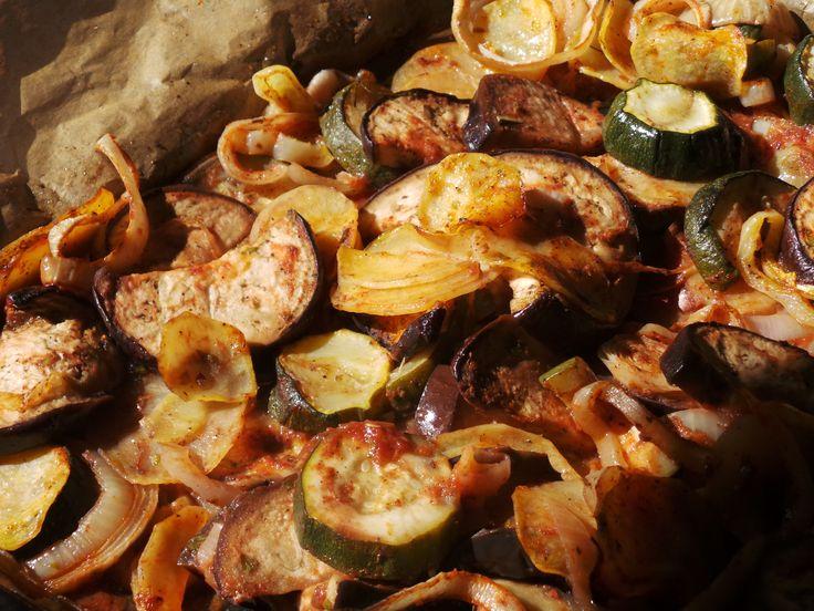 Briam - Greek oven baked vegetables. Ingredients and recipe: http://fetchveg.blogspot.hu/2015/01/briam-greek-oven-baked-vegetables.html