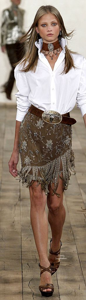 If only there was a LOVE button on pinterest! --  Ralph Lauren - fringe on earthtone fabrics -- leave it to RL ~ superior Western Flair!