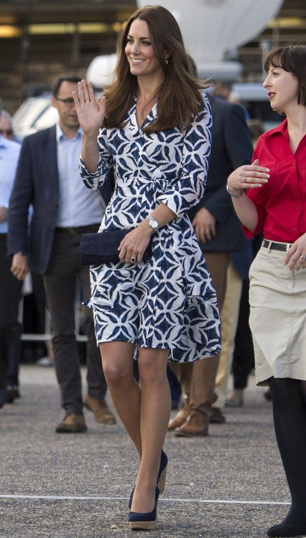 And before you ask, sorry, the $325 dress is SOLD OUT on Matches.com and DVF.com—you snooze, you lose. (Just kidding. Time change, I know.) But you can feast your eyes on Kate Middleton wearing her ikat-print Diane von Furstenberg Patrice wrap dress on her latest outing in Australia. And dare I say, the Duchess of Cambridge looks HOT. Not sure what the Queen thinks of this above-the-knee, figure-flattering, off-the-rack frock, but I really like it. Plus, those of you who prefer seeing Kate…